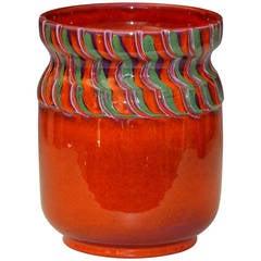Vintage Italian Art Pottery Hot Orange Bellini for Raymor Vase