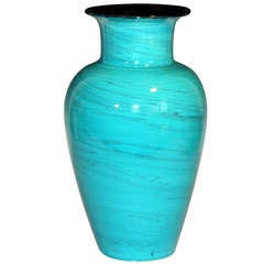 Vintage Italian Bitossi Pottery Turquoise Marbleized Vase