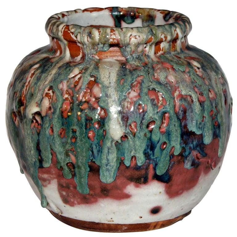 Awaji Vase With Heavy Drip Glaze At 1stdibs