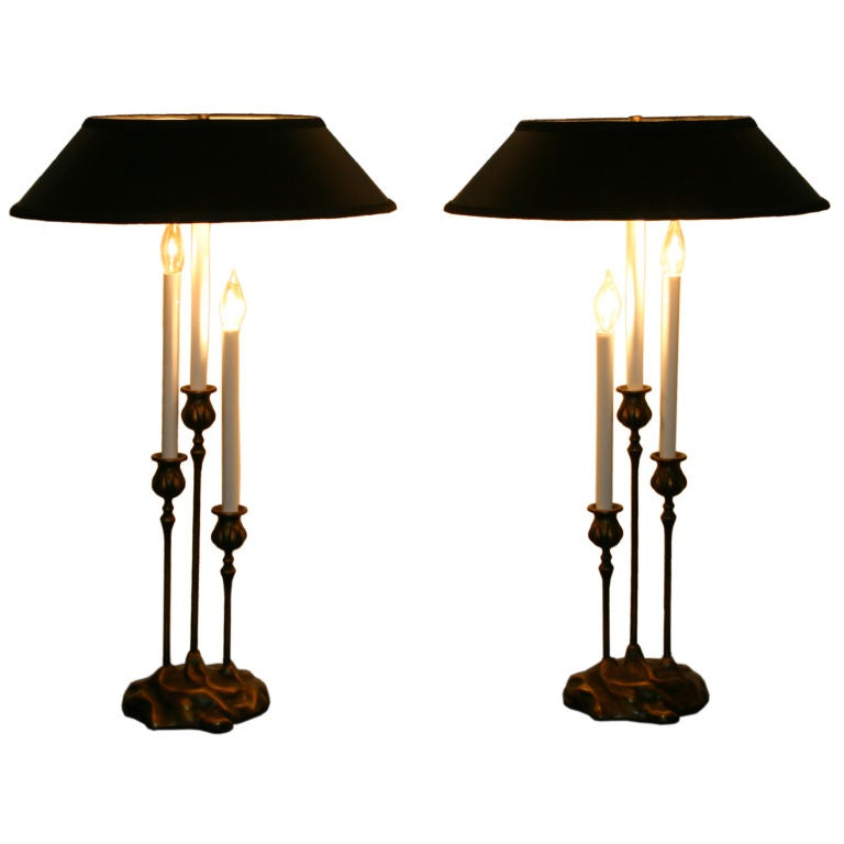 Pair Vintage Candle Lamps at 1stdibs