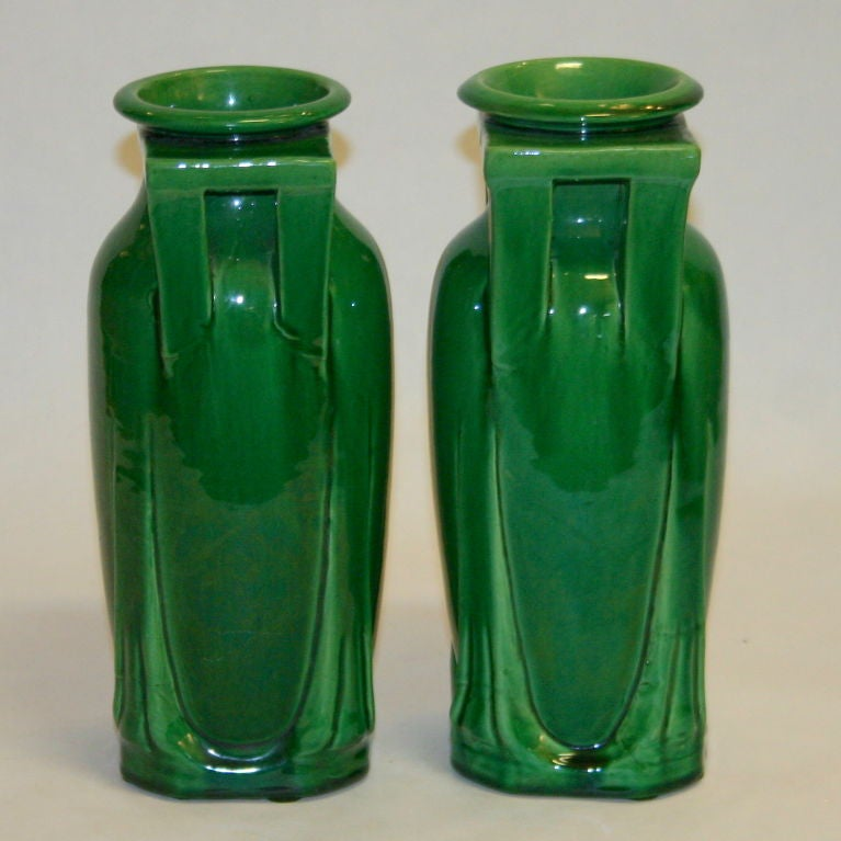 Japanese Pair Awaji Pottery Buttress Handle Vases For Sale
