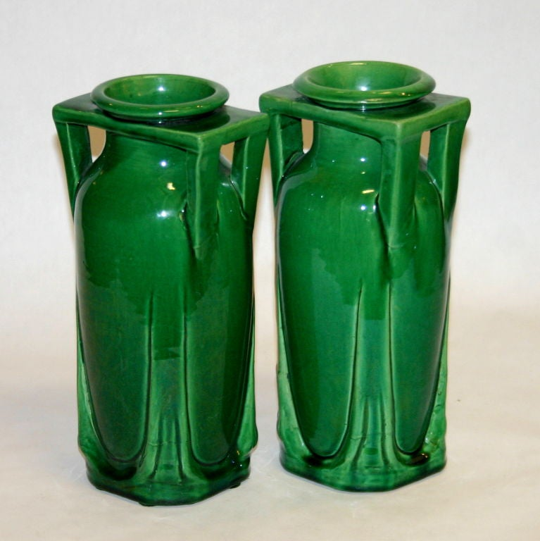 Hand-Crafted Pair Awaji Pottery Buttress Handle Vases For Sale