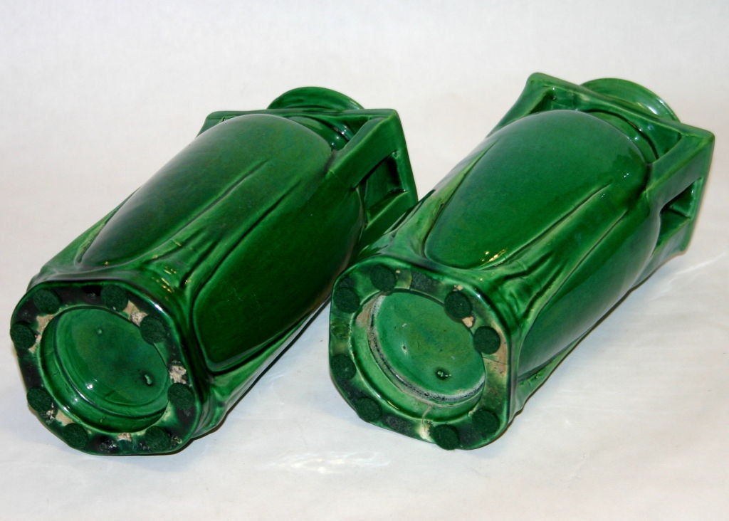 Pair Awaji Pottery Buttress Handle Vases In Excellent Condition For Sale In Wilton, CT