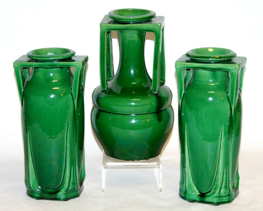 20th Century Pair Awaji Pottery Buttress Handle Vases For Sale