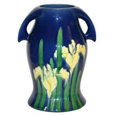 Large Awaji Art Deco Vase with Incised Irises on a Blue Ground