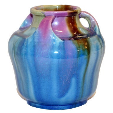 Awaji Vase With Blue Pink Caramel Drip Glaze At 1stdibs