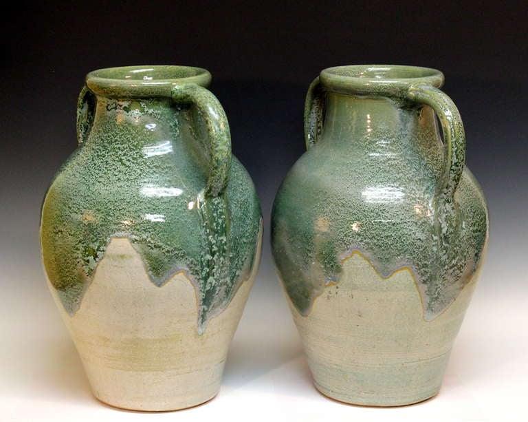 Pair Large Zanesville Stoneware Co Ohio Art Pottery Garden Porch Vases Urns At 1stdibs
