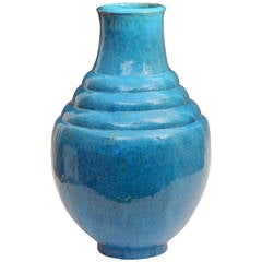Exceptional Mary Yancey Turquoise Art Deco Studio Pottery Vase