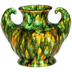 Vintage Awaji Pottery Art Deco Biceps Vase with Frothy Lava Glaze