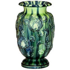 Antique Kyoto Pottery Vase with Applied Chrysanthemums
