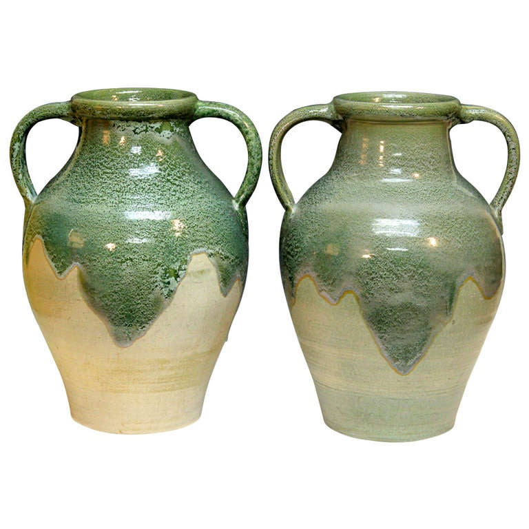Pair large zanesville stoneware co ohio art pottery garden porch vases urns at 1stdibs - Large decorative vases and urns ...