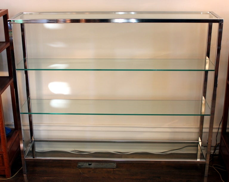 Milo Baughman Chrome and Glass Shelf Etagere image 2