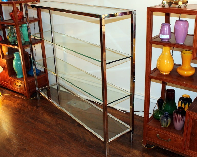 Milo Baughman Chrome and Glass Shelf Etagere image 3