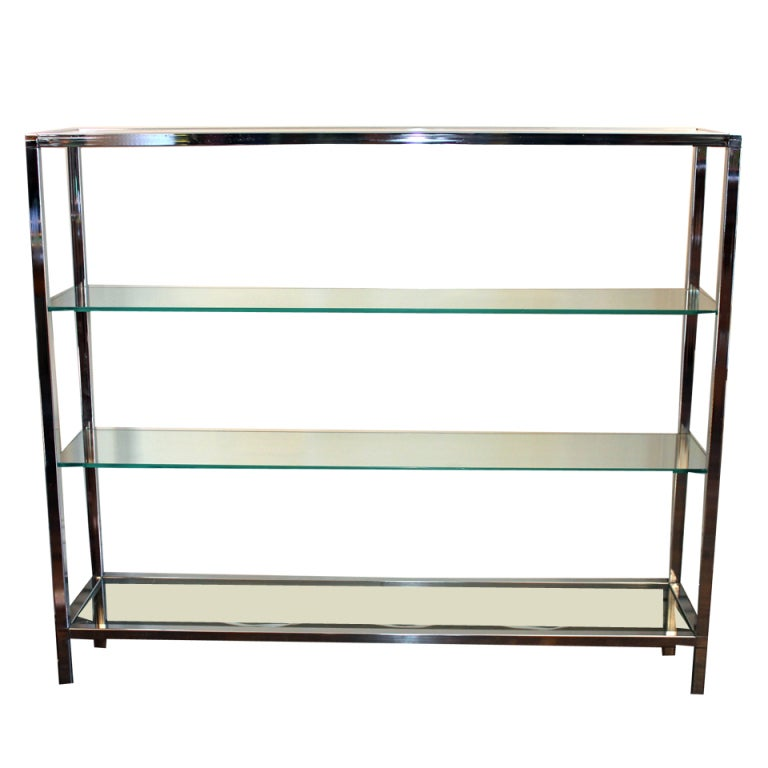Milo Baughman Chrome and Glass Shelf Etagere