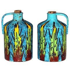Pair of Vintage Alvino Bagni Italian Pottery Whiskey Moonshine Grappa Jugs