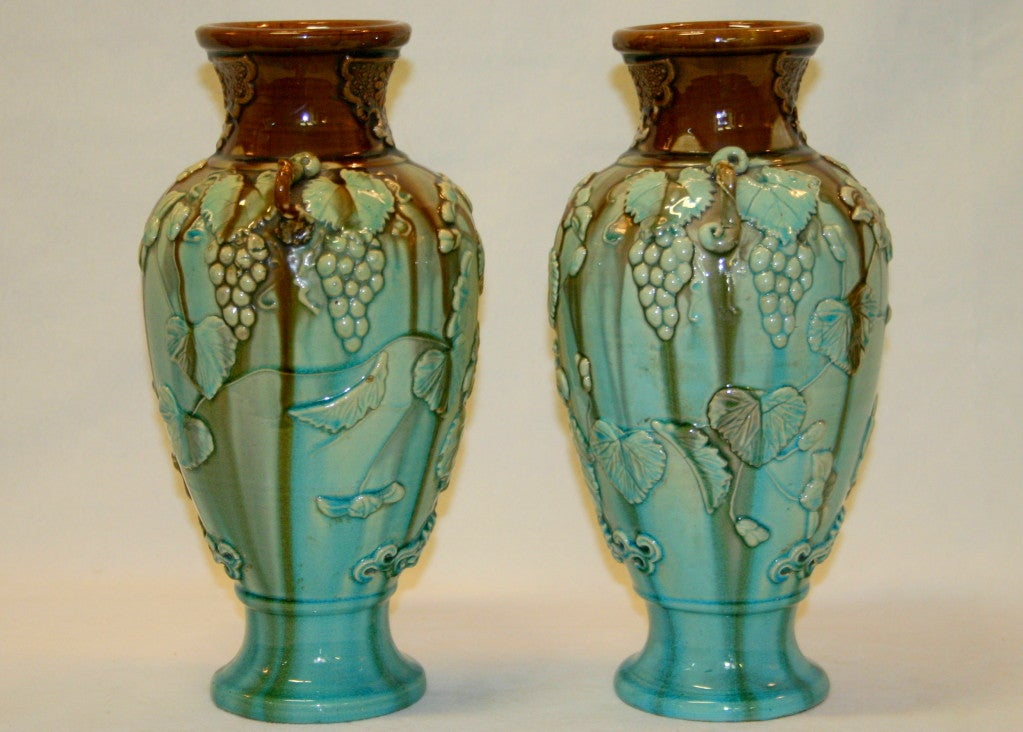 Pair Antique Kyoto Vases image 2