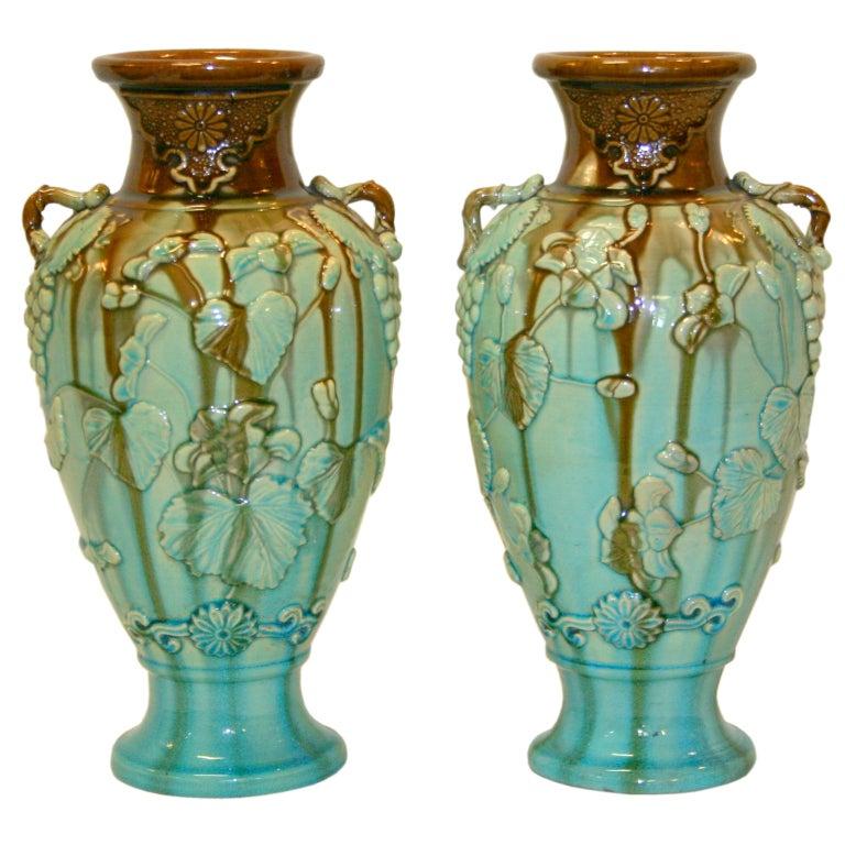 Pair Antique Kyoto Vases