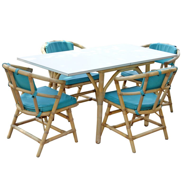 Terrace pool house bamboo rattan folding dining table set for Poolside table and chairs