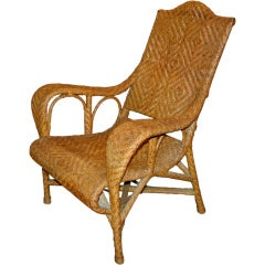 Vintage French Colonial Art Deco Wicker Plantation Chair