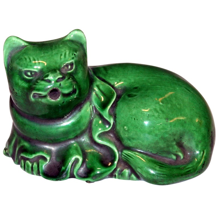 Antique Awaji Water Dropper In Cat Form At 1stdibs