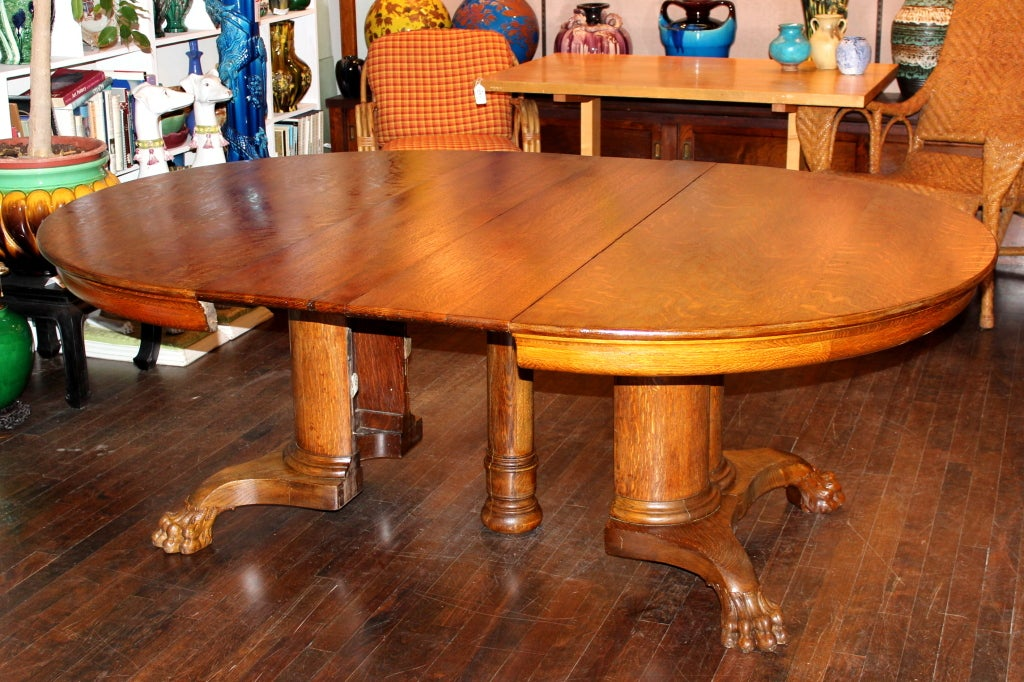 Oak Pedestal Table ~ Large antique oak pedestal dining table at stdibs