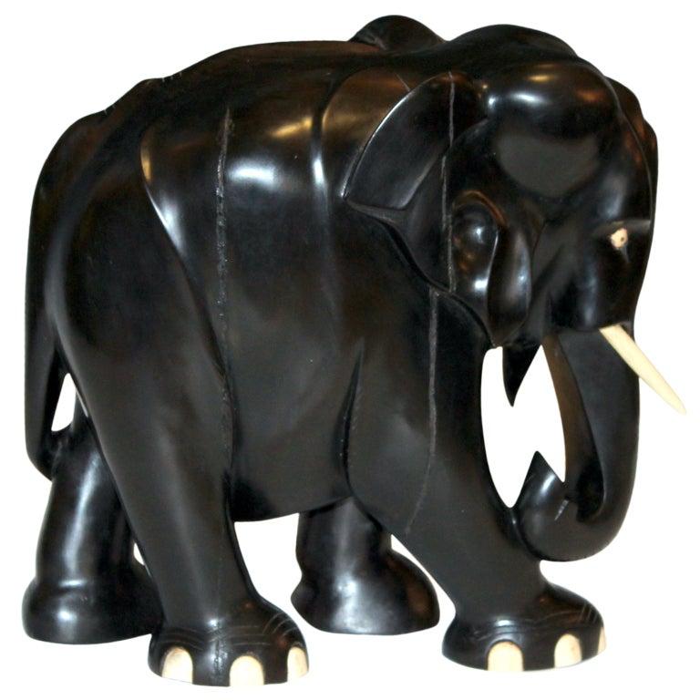 Large Carved Ebony Wood Elephant At 1stdibs