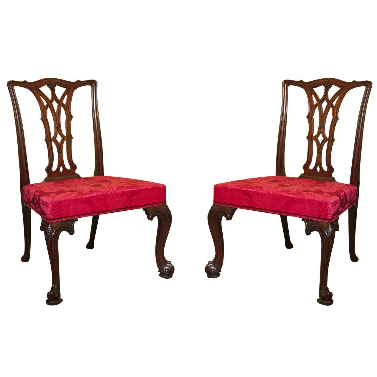 Pair Of Antique Irish Chippendale Carved Mahogany Game Chairs Irish Circa 1770 For Sale At 1stdibs