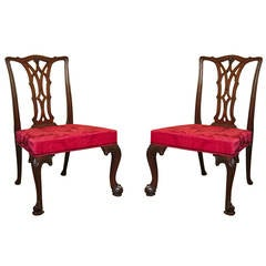 Pair Antique Irish Chippendale Carved Mahogany Game Chairs, Irish c.1770