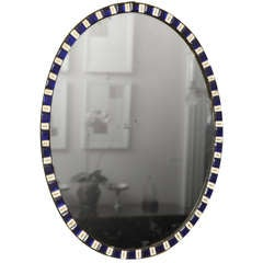 Antique Irish Oval Mirror with Sapphire and Enamel Jewels, c.1785