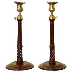 Antique Pair of George III Mahogany, Brass and Steel Candlesticks