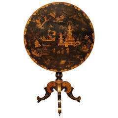 Japanned Chinoiserie Gilt Decorated Circular Tilt-Top Table, French, circa 1810