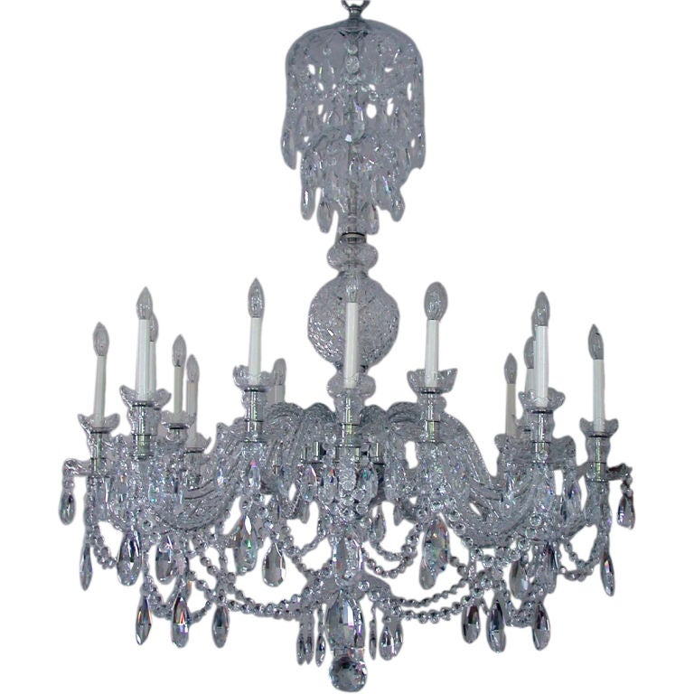 Georgian Style Custom-Made Two-Tier Twelve-Arm Cut-Glass Crystal Chandelier