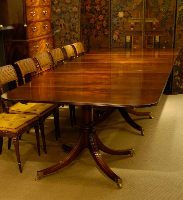 Dining Table With Three Extension Leaves And Six Matching: Handmade Three-Pedestal Solid Mahogany Dining Table With