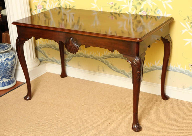 Marvelous Antique Irish Carved Solid Mahogany Console Table, Circa 1750 2