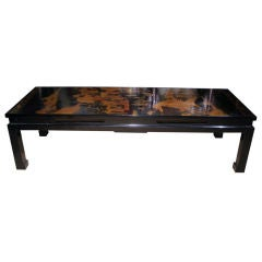 18th Century Chinese Black Lacquer Panel Coffee Table, circa 1750