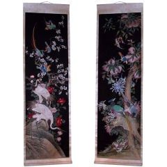 Pair of Chinese Hand-Painted Scrolls on Paper Mounted Silk, circa 1840