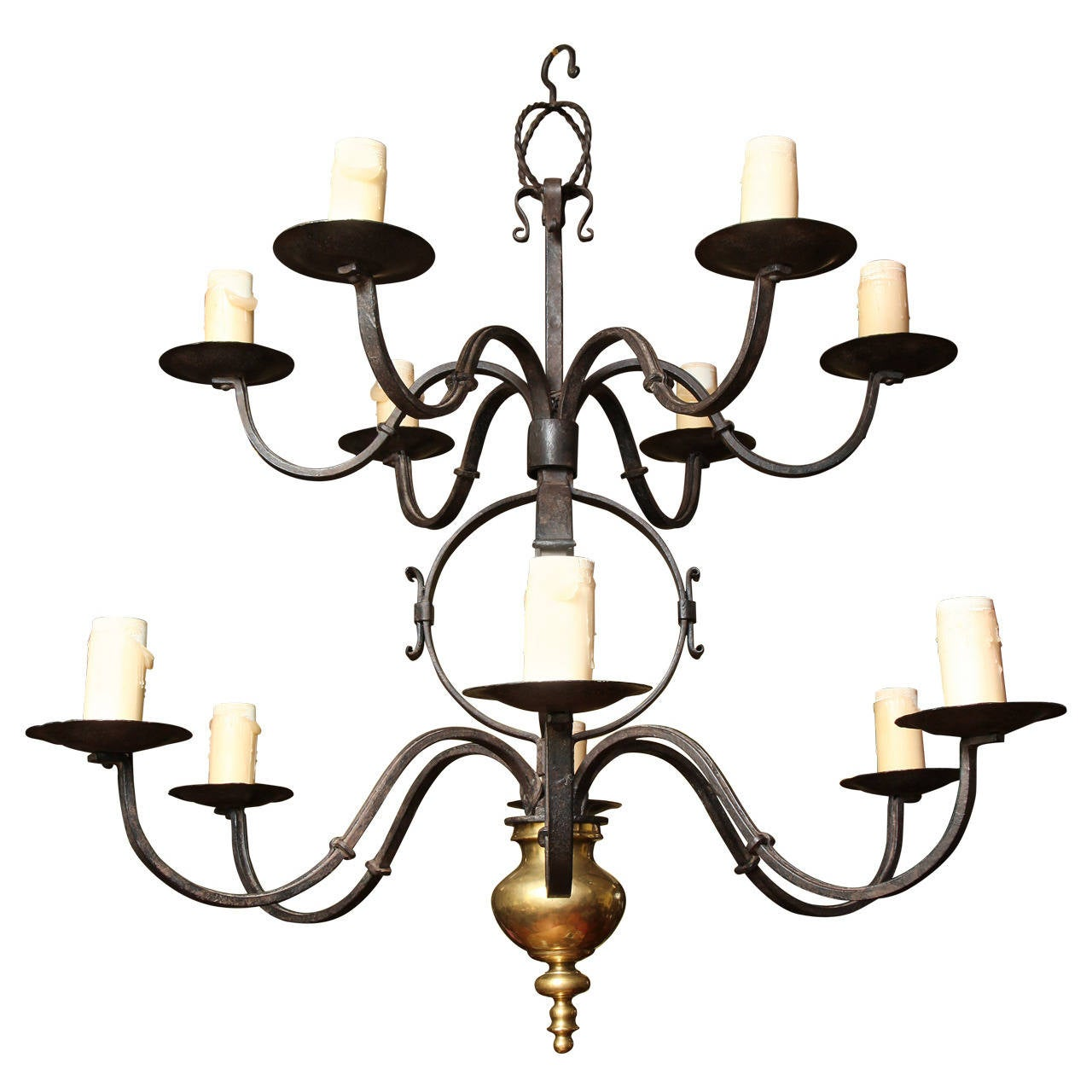Two-Tier Hand-Forged Iron and Brass Twelve-Light Chandelier
