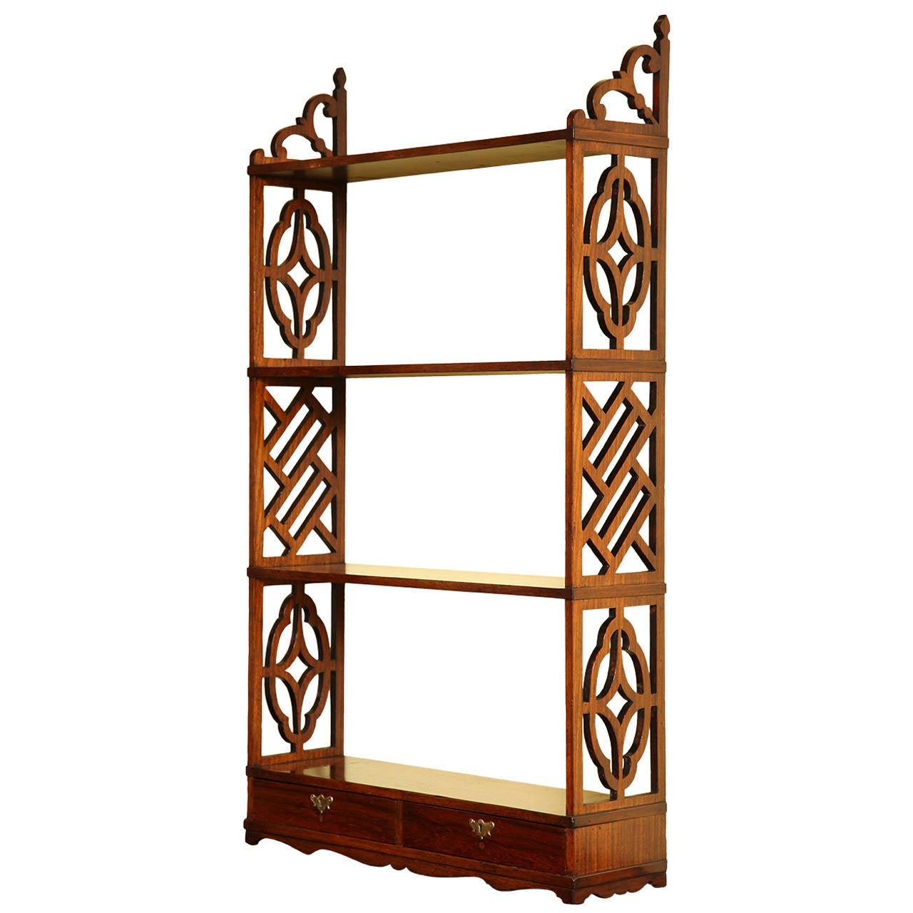 rare chinese chippendale rosewood fretwork open bookshelf english 1