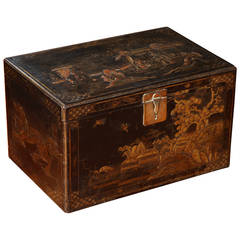 Wiliam and Mary or Queen Anne Japanned Chinoiserie Coffer, English, circa 1700