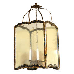 Large Chinoiserie Black Lacquer Rectangular Hall Lantern, circa 1950