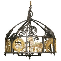 Hand crafted vintage iron and brass zodiac chandelier c.1950