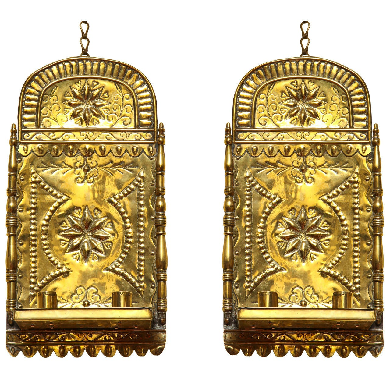 Pair of Antique Repoussé Brass Star and Heart Wall Sconces Dutch circa 1880 For  sc 1 st  1stDibs & Pair of Antique Repoussé Brass Star and Heart Wall Sconces Dutch ...