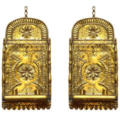 Pair of Antique Repoussé Brass Star and Heart Wall Sconces, Dutch, circa 1880