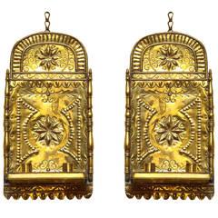 Pair of Antique Repoussé Brass Star & Heart Wall Sconces, Dutch, circa 1880