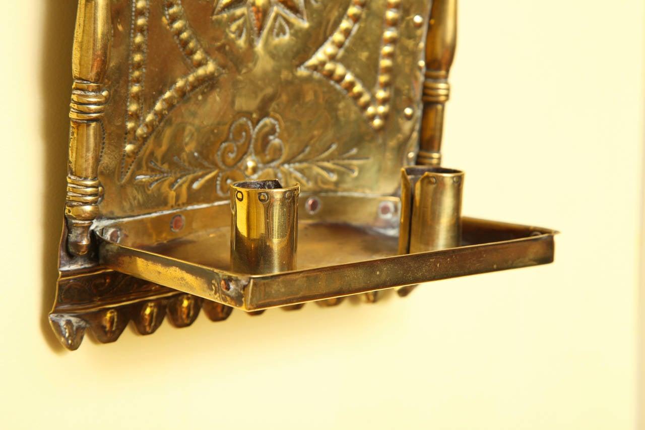 Pair of Antique Repoussé Brass Star and Heart Wall Sconces, Dutch ...