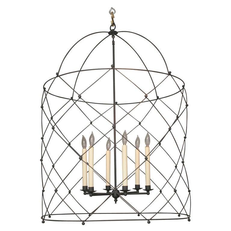 Fine Custom Made Bird Cage Lantern in Bamboo Iron with Six Lights