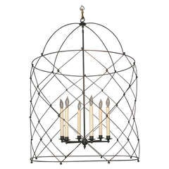 Fine Custom Made Bird Cage Lantern in Bamboo Iron with Six Lights