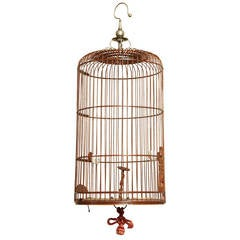 Antique Carved Wood and Turned Bamboo Birdcage, Chinese circa 1890