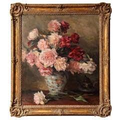 Still Life with Roses, Oil on Canvas, Einar Olsen 1876-1950