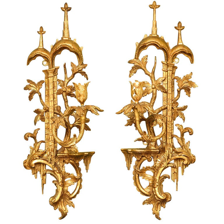 Antique Wood Wall Sconces : Pair Antique Chinese Chippendale Period Gilt Wood Wall Lights, C.1755 at 1stdibs